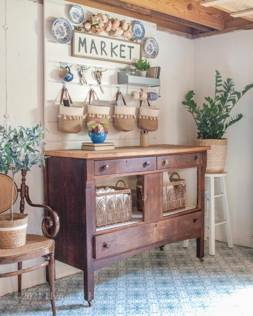 Refurbished vintage cabinet in tiled craft area