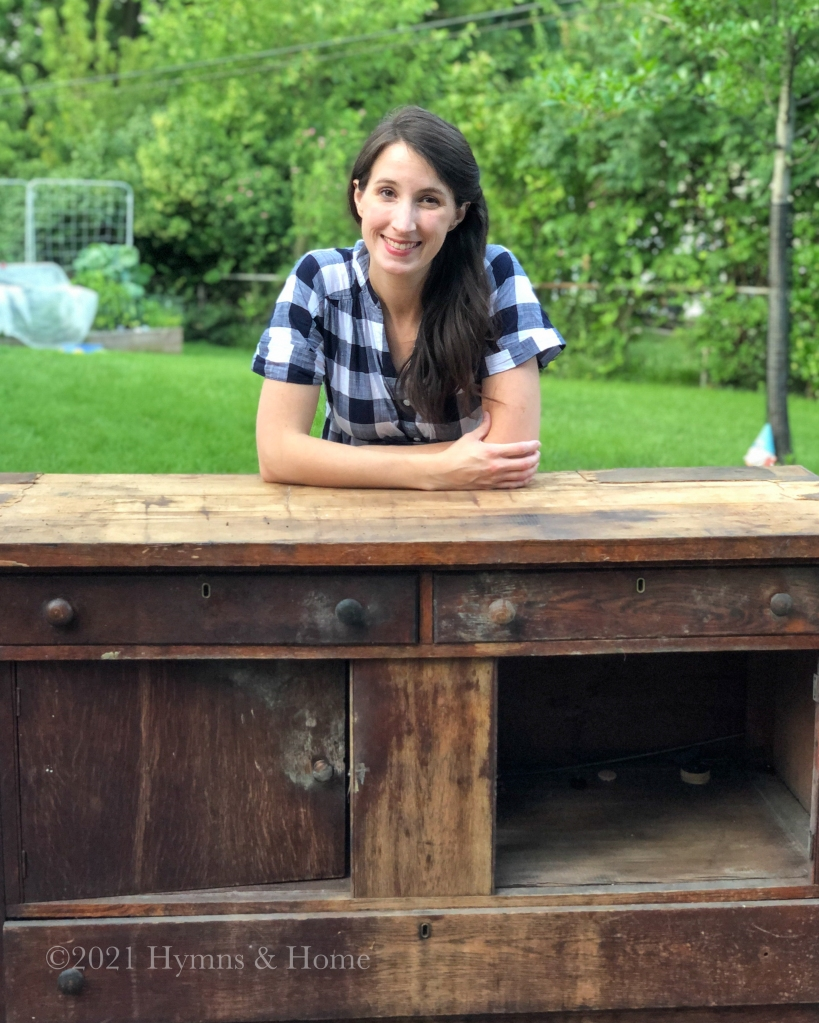 Old wooden cabinet with Melissa (Hymns & Home blogger)