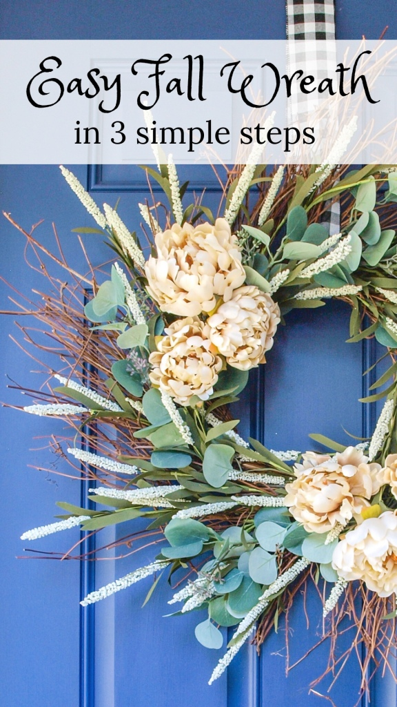 Easy Fall Wreath in 3 simple steps - Pinterest pin