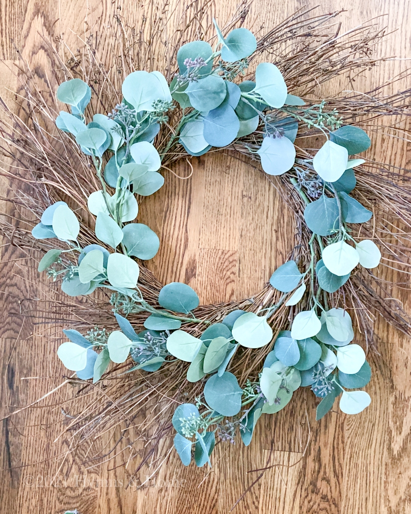 Wreath form with eucalyptus branches