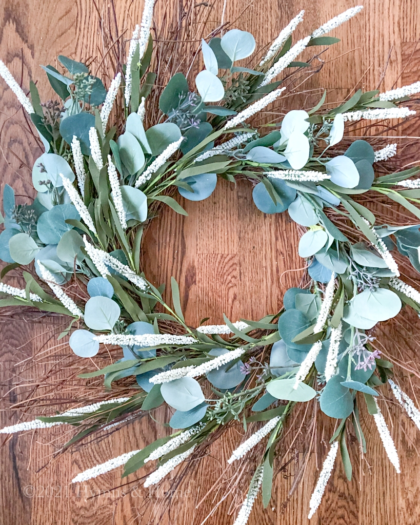 Wreath form with eucalyptus branches and foxtail flowers