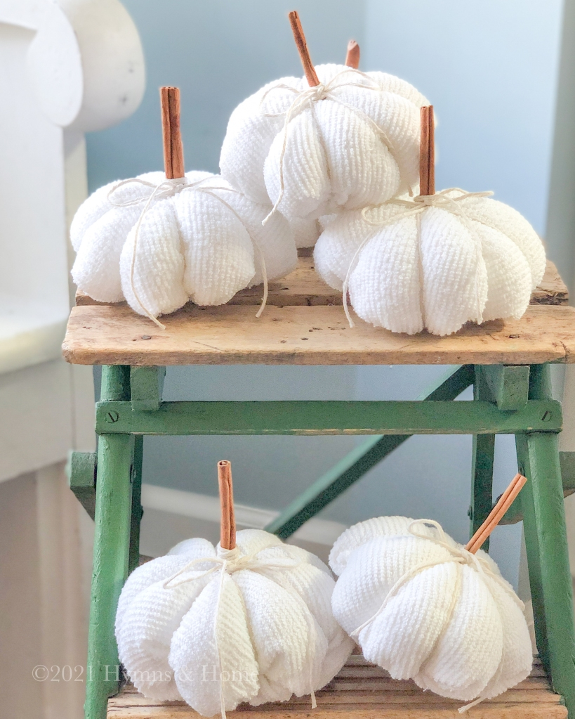 White Fall pumpkins with cinnamon stick stems on a vintage green stepladder